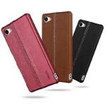 Пластиковый дизайнерский чехол накладка с кожаным прошитым покрытием для Sony Xperia Z5 Compact