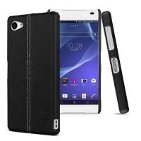 Пластиковый дизайнерский чехол накладка с кожаным прошитым покрытием для Sony Xperia Z5 Compact Черный