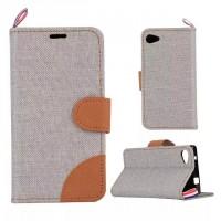 Чехол флип подставка с застежкой, тканевым покрытием и внутренними карманами для Sony Xperia Z5 Compact