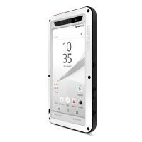 Антиударный пылевлагозащищенный гибридный премиум чехол силикон/металл/закаленное стекло для Sony Xperia Z5 Compact Белый