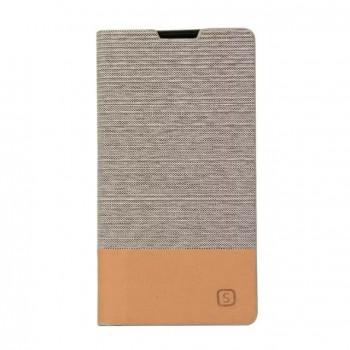 Текстурный чехол флип подставка на силиконовой основе с отделением для карты и тканевым покрытием для Sony Xperia Z5 Compact