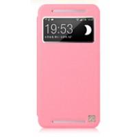 Чехол с окном вызова для HTC One (M7) Dual SIM Розовый