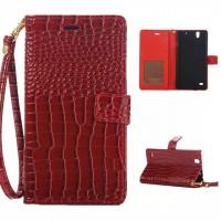 Глянцевый чехол портмоне подставка с магнитной защелкой текстура Крокодил для Sony Xperia C4 Красный