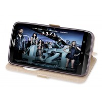 Чехол флип подставка текстурный на силиконовой основе с круглым окном вызова и магнитной защелкой для ASUS ZenFone 2 Laser 6 Бежевый