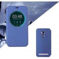 Текстурный чехол флип подставка на силиконовой основе с круглым окном вызова для ASUS ZenFone 2 Laser 6 Синий