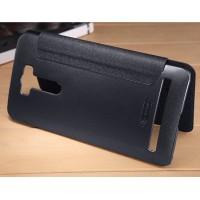 Текстурный чехол флип на пластиковой нескользящей премиум основе с круглым окном вызова для ASUS ZenFone 2 Laser 6 Черный