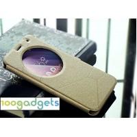 Чехол флип подставка текстурный с круглым окном вызова для ASUS ZenFone 2 Laser 6 Бежевый