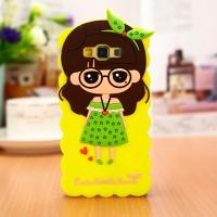 Силиконовый дизайнерский фигурный чехол для Samsung Galaxy A3 Желтый