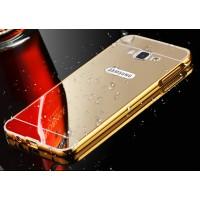 Гибридный металлический двухкомпонентный чехол с поликарбонатной крышкой с зеркальным покрытием для Samsung Galaxy A3 Бежевый