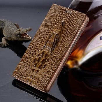 Кожаный чехол флип подставка на пластиковой основе (нат. кожа крокодила) для Samsung Galaxy A3