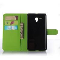 Чехол портмоне подставка с защелкой для Alcatel One Touch POP 3 5.5 Зеленый