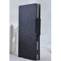 Текстурный чехол флип подставка на пластиковой основе с отделением для карт для Sony Xperia C Черный