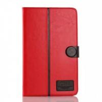 Глянцевый водоотталкивающий чехол книжка подставка на силиконовой основе с отделениями для карт и магнитной защелкой для Samsung Galaxy Tab E 9.6 Красный