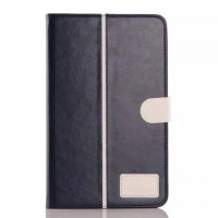 Глянцевый водоотталкивающий чехол книжка подставка на силиконовой основе с отделениями для карт и магнитной защелкой для Samsung Galaxy Tab E 9.6 Синий