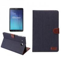 Чехол книжка подставка на поликарбонатной основе с отделениями и тканевым покрытием для карт для Samsung Galaxy Tab E 9.6