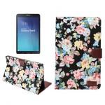 Чехол книжка подставка на поликарбонатной основе с отделениями для карт и полноповерхностным принтом для Samsung Galaxy Tab E 9.6