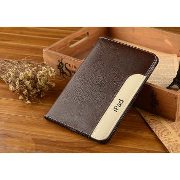 Дизайнерский кожаный прошитый чехол подставка с рамочной защитой экрана и держателем для кисти для Ipad Pro