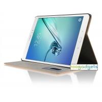 Чехол книжка подставка на поликарбонатной основе с отделениями для карт и полноповерхностным принтом для Samsung Galaxy Tab S2 8.0 Черный