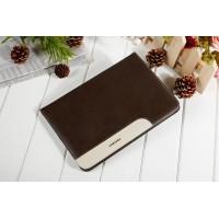 Глянцевый водоотталкивающий чехол книжка подставка с рамочной защитой экрана, с отделениями для карт и поддержкой кисти для Samsung Galaxy Tab S2 8.0 Коричневый