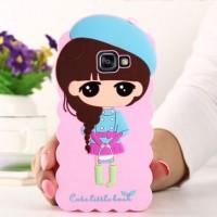 Силиконовый дизайнерский фигурный чехол для Samsung Galaxy A7 (2016) Розовый