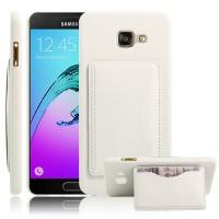 Дизайнерский чехол накладка с отделениями для карт и подставкой для Samsung Galaxy A7 (2016) Белый