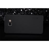Пластиковый матовый нескользящий премиум чехол для Samsung Galaxy A7 (2016) Черный
