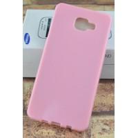 Силиконовый матовый непрозрачный чехол для Samsung Galaxy A7 (2016) Розовый