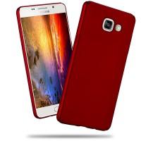 Пластиковый матовый металлик чехол для Samsung Galaxy A7 (2016) Красный