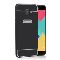 Двухкомпонентный чехол с металлическим бампером и поликарбонатной накладкой для Samsung Galaxy A7 (2016) Черный