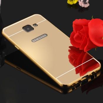 Двухкомпонентный чехол с металлическим бампером и поликарбонатной крышкой с зеркальным покрытием для Samsung Galaxy A7 (2016)