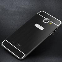 Двухкомпонентный чехол с металлическим бампером и поликарбонатной накладкой текстура Металл для Samsung Galaxy A7 (2016) Черный