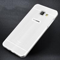 Двухкомпонентный чехол с металлическим бампером и поликарбонатной накладкой текстура Металл для Samsung Galaxy A7 (2016) Белый