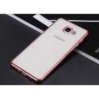 Силиконовый матовый полупрозрачный чехол с металлическим напылением для Samsung Galaxy A7 (2016) Розовый