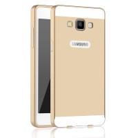 Двухкомпонентный чехол с металлическим бампером и поликарбонатной двухцветной накладкой для Samsung Galaxy A5 Бежевый