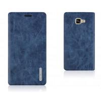 Глянцевый чехол флип подставка на присоске с отделением для карт для Samsung Galaxy A7 (2016) Синий
