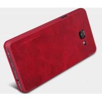 Чехол флип на пластиковой основе с окном вызова и текстурным покрытием Кожа для Samsung Galaxy A7 (2016) Красный