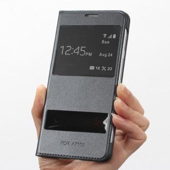 Чехол флип подставка на пластиковой основе с окном вызова и свайпом для Samsung Galaxy A7 (2016)