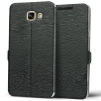 Чехол флип подставка на пластиковой основе текстура Дерево для Samsung Galaxy A5 (2016) Черный