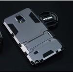 Антиударный гибридный силиконовый чехол с поликарбонатной крышкой и встроенной ножкой-подставкой для Samsung Galaxy Note 4