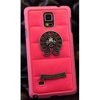 Пластиковый чехол с кожаным покрытием и металлической аппликацией ручной работы для Samsung Galaxy Note 4