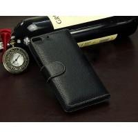 Кожаный чехол портмоне (нат. кожа) для Fly Universe 5.7 IQ457 Черный
