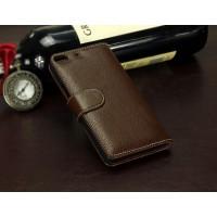 Кожаный чехол портмоне (нат. кожа) для Fly Universe 5.7 IQ457 Коричневый