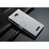 Чехол портмоне подставка из глянцевой кожи с магнитной застежкой назад для Sony Xperia C Белый