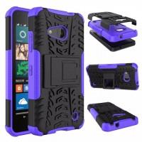 Антиударный гибридный чехол экстрим защита силикон/поликарбонат для Microsoft Lumia 550 Фиолетовый