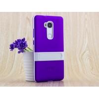 Двухкомпонентный силиконовый чехол с пластиковым бампером-подставкой для Huawei Honor 5X Фиолетовый