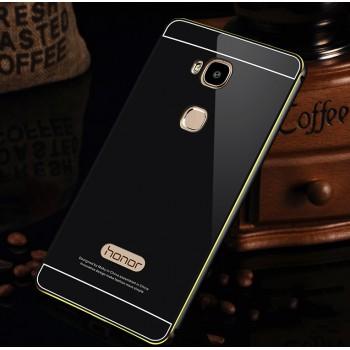 Двухкомпонентный чехол с металлическим бампером с золотой окантовкой и поликарбонатной накладкой для Huawei Honor 5X