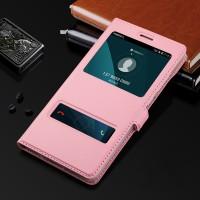 Чехол флип подставка на пластиковой основе с окном вызова и свайпом для Huawei Honor 5X Розовый