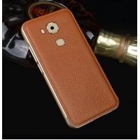 Двухкомпонентный гибридный чехол с металлическим бампером и кожаной накладкой для Huawei Honor 5X