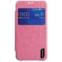 Чехол флип с окном вызова на прозрачной основе для Samsung Galaxy Core 2 Розовый