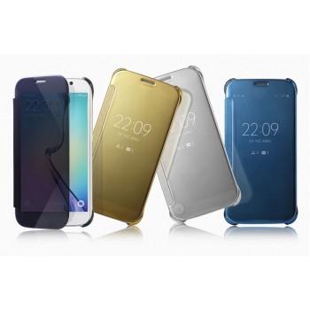 Двухмодульный пластиковый чехол флип с полупрозрачной акриловой крышкой с зеркальным покрытием для Samsung Galaxy S6 Edge Plus